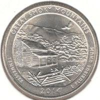 25 центов 2014 P, Великие Дымчатые Горы (Теннесси)
